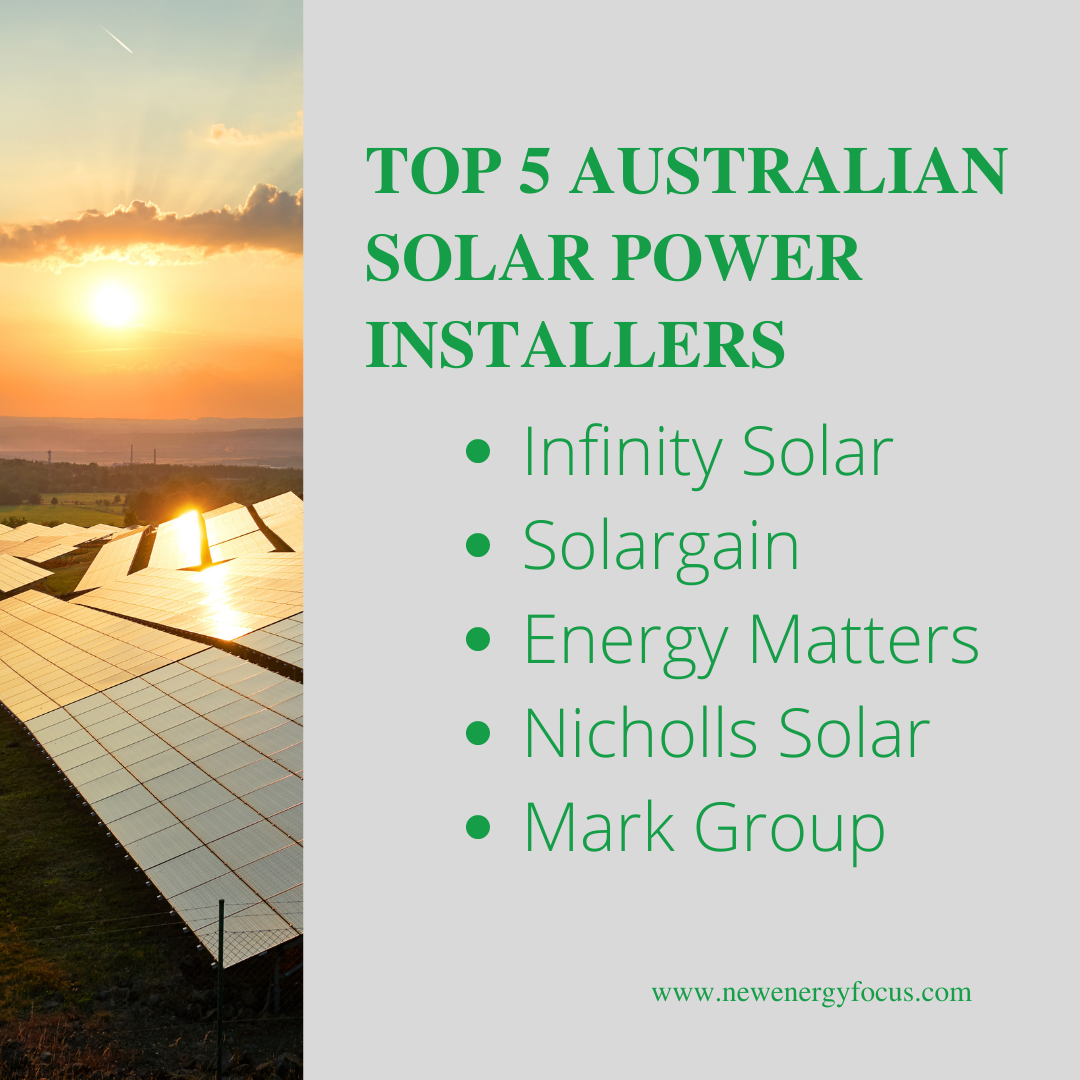 graphic of Top five Australian solar energy company power installers