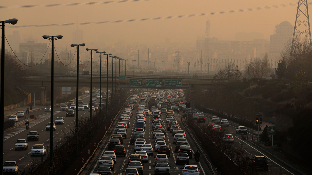 Air pollution over traffic on highway