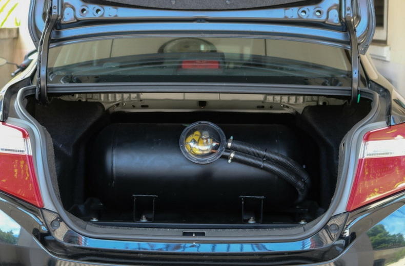 LPG tank in boot of a converted car